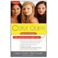Color Oops Regular Strength Hair Color Remover, #RS100 - 1 Ea by Color Oops. $9.12. removes permanent. semi permanent hair color. Bleach free. Safe and easy. Ammonia free. INDICATIONS: Color Oops Regular Strength Hair Color Remover Gently removes permanent & semi-permanent hair color.Takes you back to your original color.Color Oops is a safe and effective way to remove unwanted hair color in just 20 minutes. Color Oops Hair Color Remover Features: Takes only 20 minutes. Safe ...