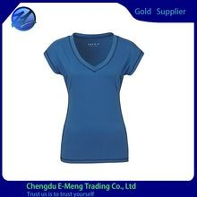 High Quality Soft Cotton Short Sleeve Deep V-neck Women T shirt Blank best buy follow this link http://shopingayo.space
