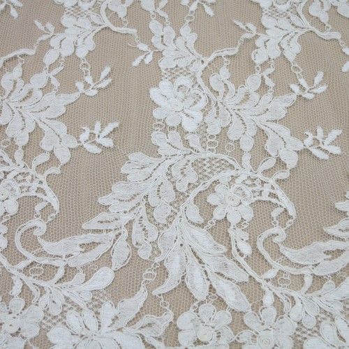 IVORY FLORAL CORDED SILK ALENCON FRENCH LACE