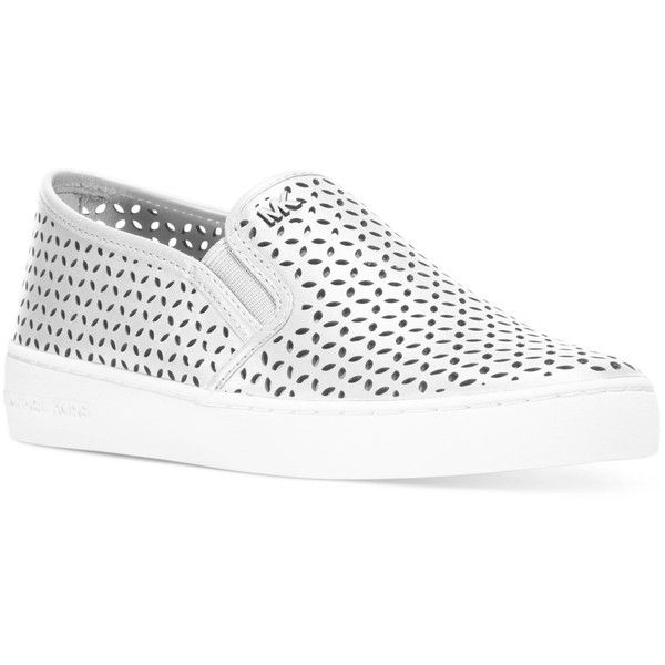 Michael Michael Kors Olivia Slip-On Sneakers ($135) ❤ liked on Polyvore featuring shoes, sneakers, optic white, slip on trainers, michael kors, michael michael kors shoes, slipon shoes and white trainers