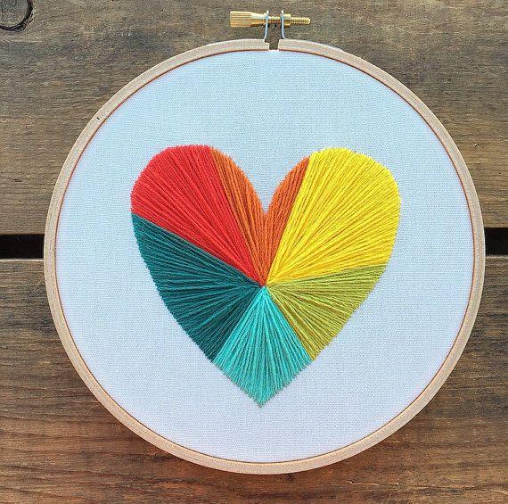 Rainbow Geometric Heart embroidery hoop art by bugandbeanstitching