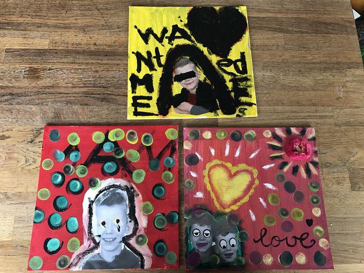 Mix media schilderij minder knutsel-lab! www.zusjesscreatief.nl