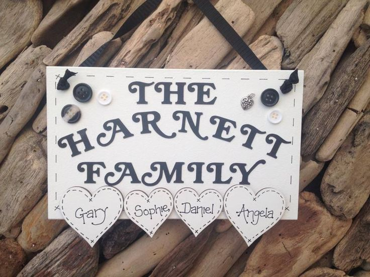 Handmade Personalised Plaque Family Name Surname Sign Hearts Present Gift