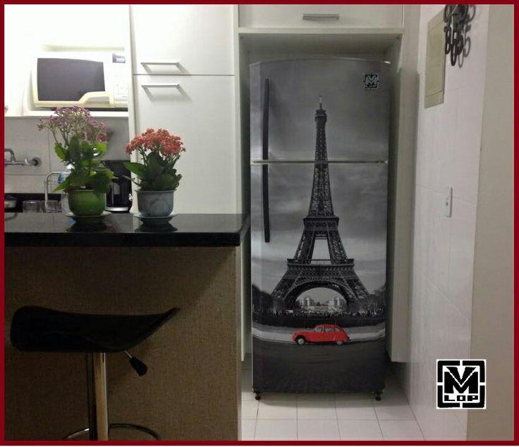 envelopamento de geladeira com imagem da torre eifel mais de