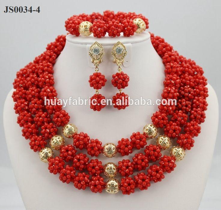 Coral rojo de la joyería conjuntos oro africano de la joyería de perlas JS0034-4-Set de joyas -Identificación del producto:60340320534-spanish.alibaba.com