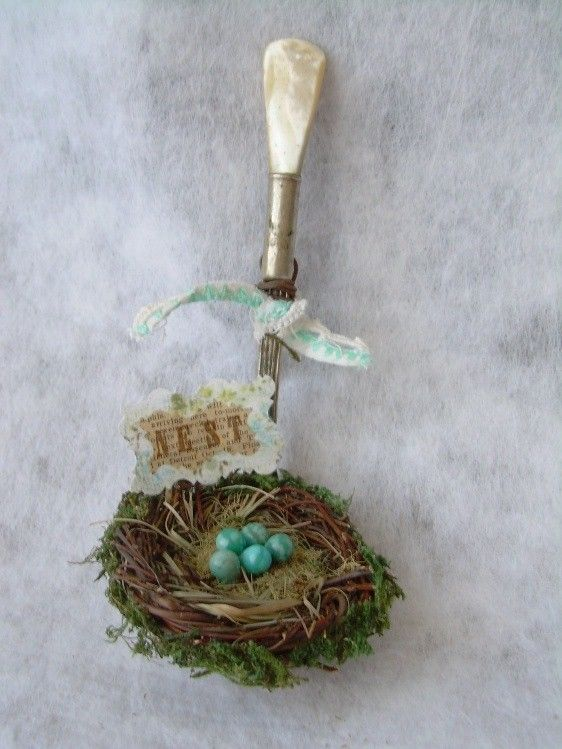 Upcycled Spoon Art!  I am thinking this would be amazing with REAL blown quail eggs!