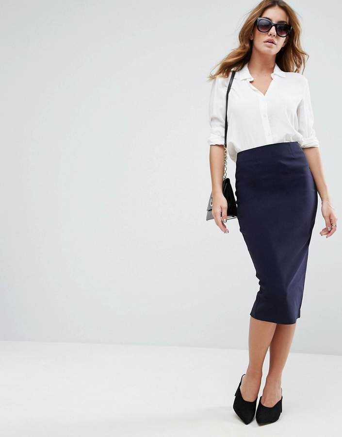 b2bd50a0d6c98b $12.50 ASOS High Waist Longerline Pencil Skirt. Score a wardrobe win no  matter the dress code with our ASOS Collection own-label collection. # ShopStyle ...