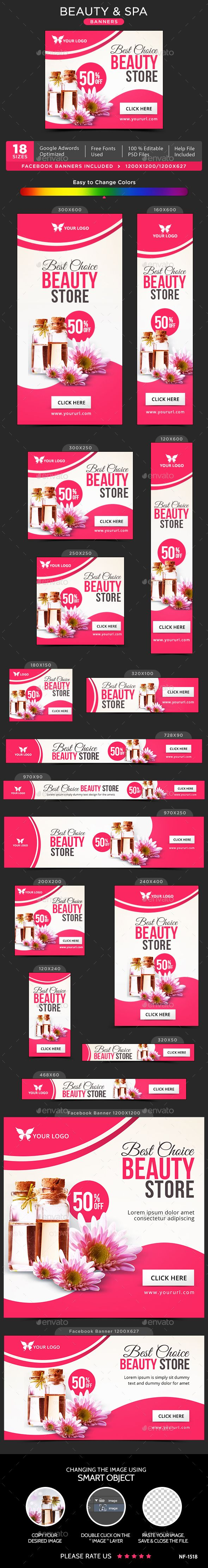 Beauty & Spa Banners Design Template  - Banners & Ads Web Element Template PSD. Download here: https://graphicriver.net/item/beauty-spa-banners/17710561?s_rank=37&ref=yinkira