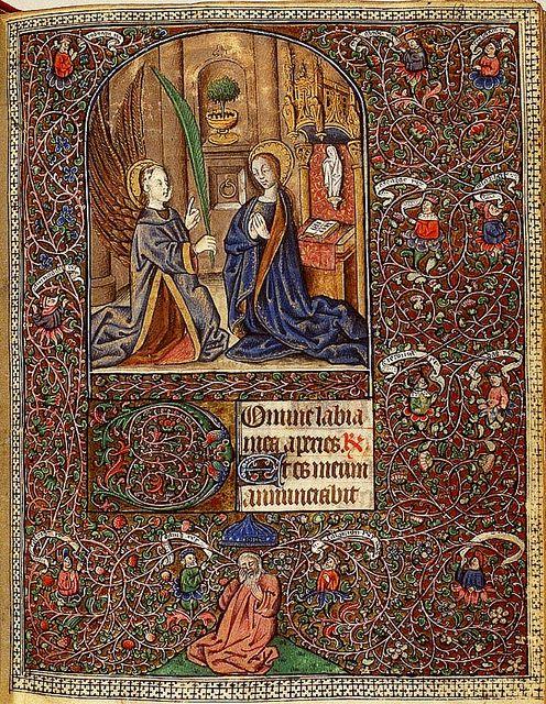 Savoie, Suiveur du Maitre du Prince de Piémont - Annonciation- surrounded by a tree of Jesse La Haye, 1465-1470, KB 76 G 14, fol. 9