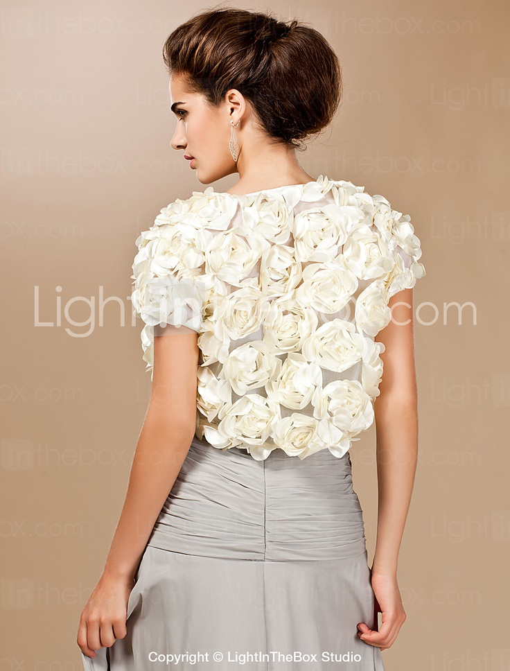 Luxurious Lace With Satin Flowers Short Sleeve Wedding Wrap