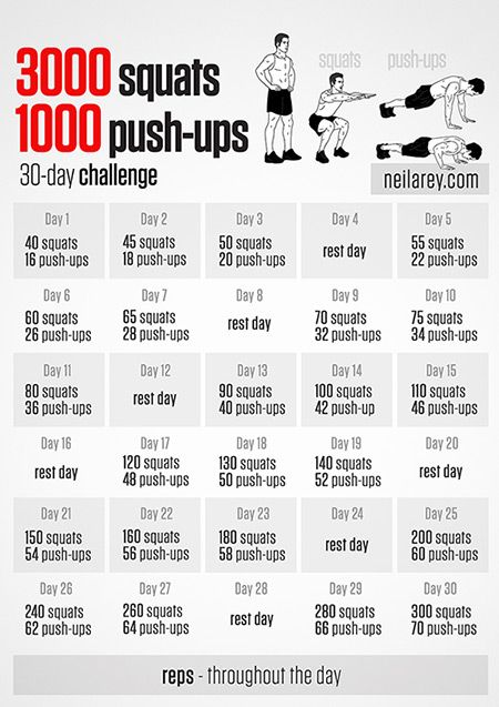 Squats and Push Ups 30-day challenge