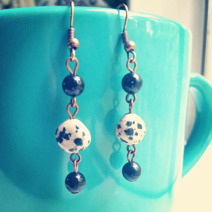 70/100: Dalmatian jasper and black beads were used to make these simple earrings. #the100dayproject #make100earrings