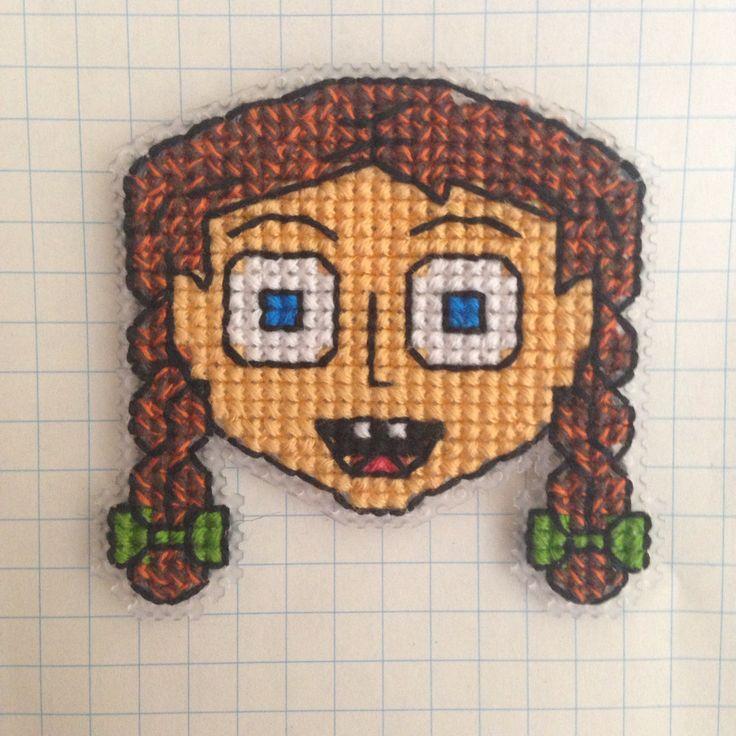 Kanaviçe kız broş plastik kanvas şaşkın kız