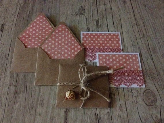 Conjunto de 5 sobres pequeños hechos a mano-gracias tarjetas - polka vintage rosa pastel Rosa punteado - tierna rústico romántico - europeanstreetteam