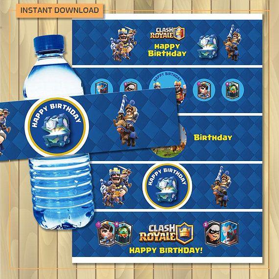 Choque royale cumpleaños etiqueta de la botella de agua