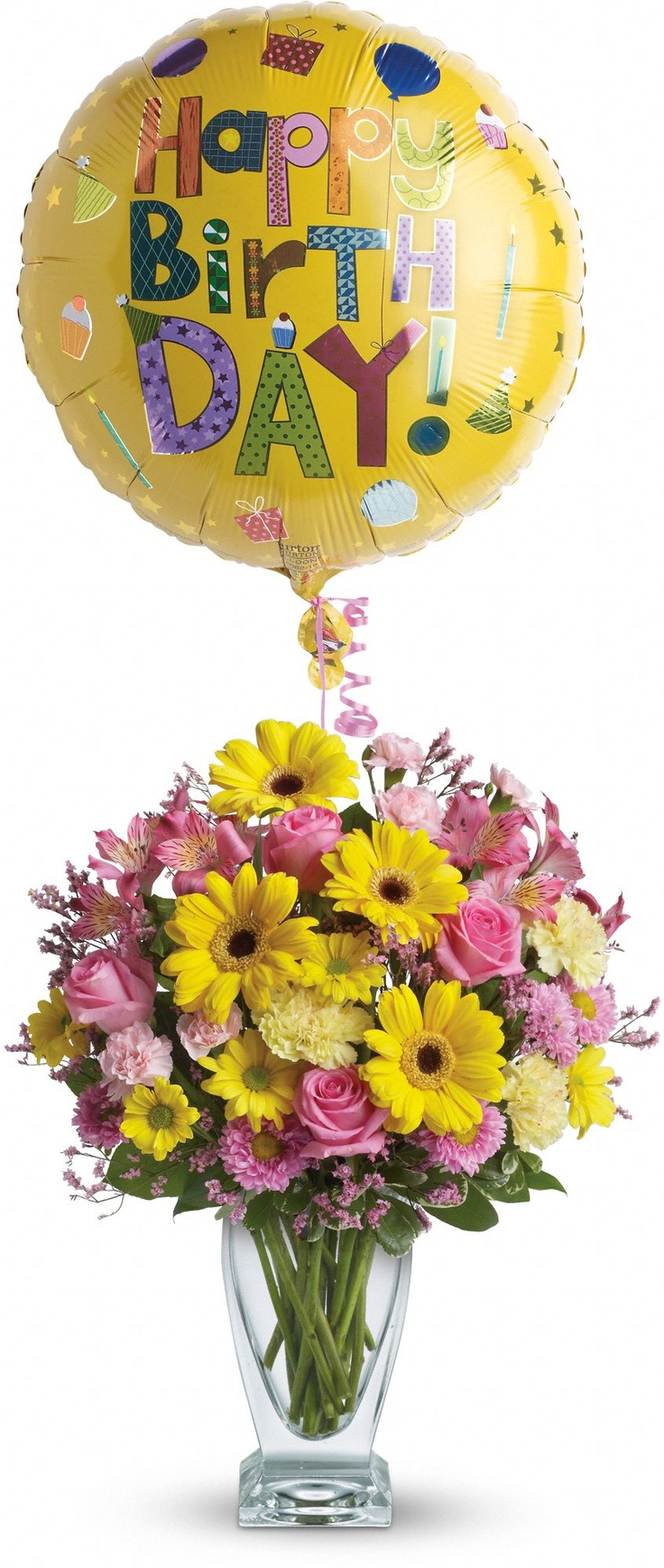 139 best birthdays images on pinterest happy birthday greetings luxurious flowers such as roses gerberas and alstroemeria are gathered in soft shades of pink and yellowrives in telefloras glass couture vase izmirmasajfo