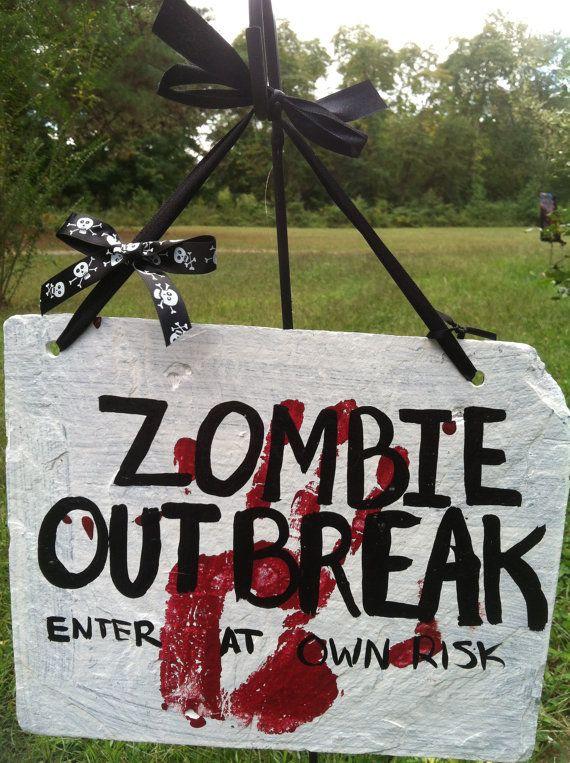 Halloween sign, Halloween decor, Halloween saying, Zombie Outbreak
