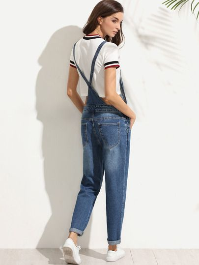 Синий джинсовый комбинезон-сарафан
