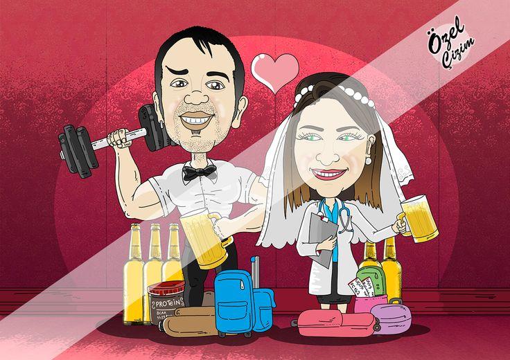 Yeni evli çifte hediye karikatür :)  #ozelcizim #hediye #karikatur #resim #cizim sanat #komik #komikhediye #portre #karikaturportre #dugun #evlilik #gelin #damat #resim #sanat #cizim #fitness