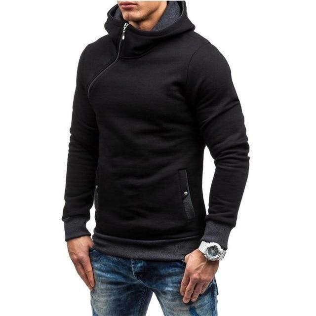 Men Hoodie Hooded Inclined Zip Long Sleeve Sweater Pullover Outwear Streetwear