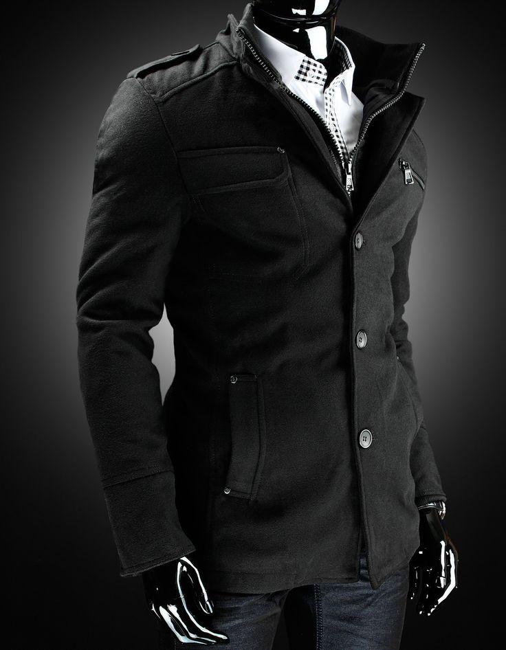 Jesienno - Zimowy płaszcz męski - wysoka jakość materiału - zapinany na guziki - zobacz www.dstreet.pl