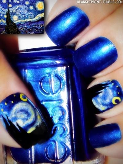 "Starry Night (Van Gogh) Manicure. => SOURCE: from  pinterest.com/... ""Head and Nails ART!"" Board (@Bendrix) via. racked.com/..."