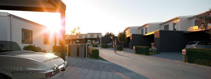 Ny boligbebyggelse i dejlige, rolige omgivelser centralt i Karlslunde.  1 plans gårdhavehuse og 2 plans rækkehuse fra Lind & Risør.