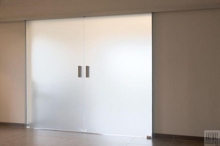 Portes coulissantes vitrées double avec verre acide matte