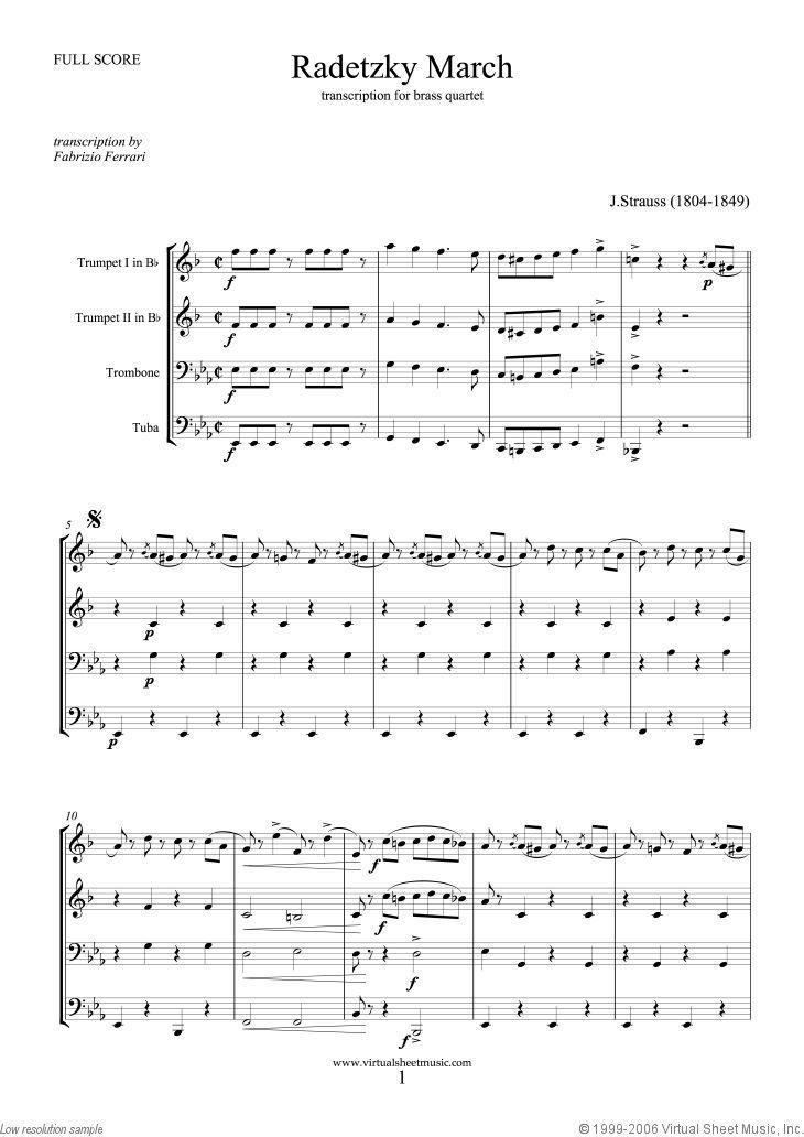 Strauss Radetzky March Sheet Music For Brass Quartet Pdf