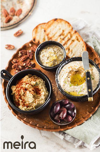Mezet - 3 dippiä: hummus, baba ganoush ja feta-pähkinätahna   Meira