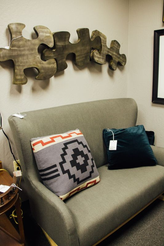 Talk about a modern art piece  The puzzle pieces are so unique and go well    Scottsdale ArizonaPuzzle. 345 best images about Consignment Furniture at Avery Lane
