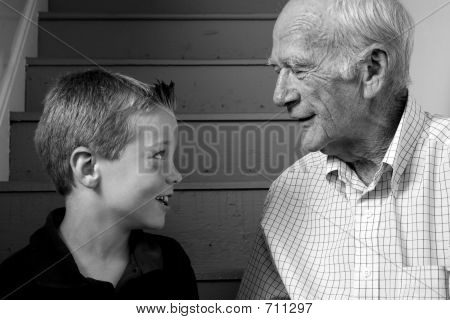 Picture or Photo of Seven year-old boy with grandfather.