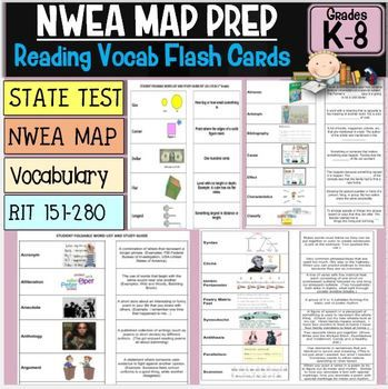 NWEA MAP growth is based on two ingredients, VOCABULARY and SKILLS PRACTICE. This NWEA MAP Prep Reading Flash Card set utilizes the vocabulary needed to increase NWEA MAP, State, and local assessments. This product contains every vocabulary word, definition, and picture from NWEA MAP Rit 141-260 formatted as a fold-over/flash card set in Word. This will allow your students to study critical MAP vocabulary in the every RIT band at school or at home. ...