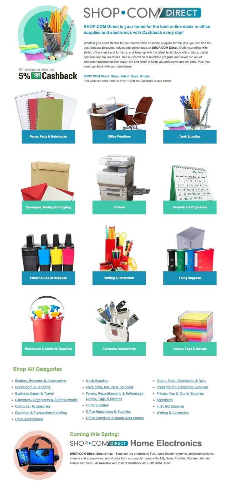 Know anybody that likes to save money?  SHOP Direct is your home for the best online deals in office supplies and electronics.