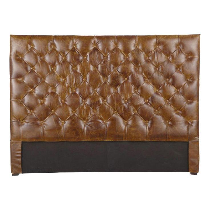 Testata da letto imbottita vintage marrone in cuoio L 160 cm Chesterfield