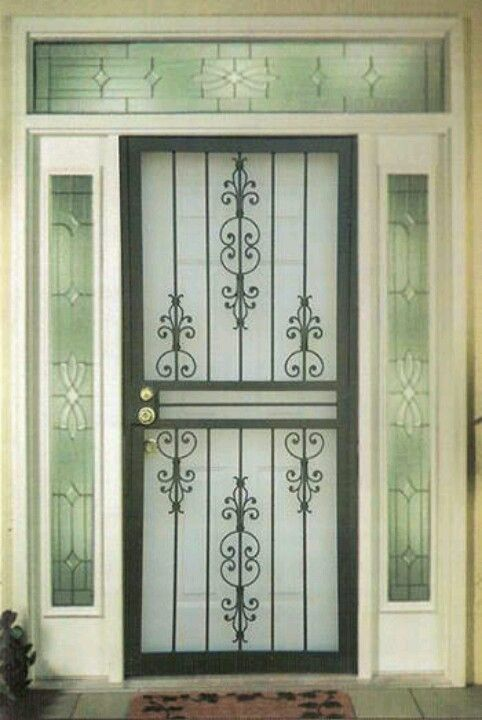 Pretty And Functional Iron Security Screen Door Enter