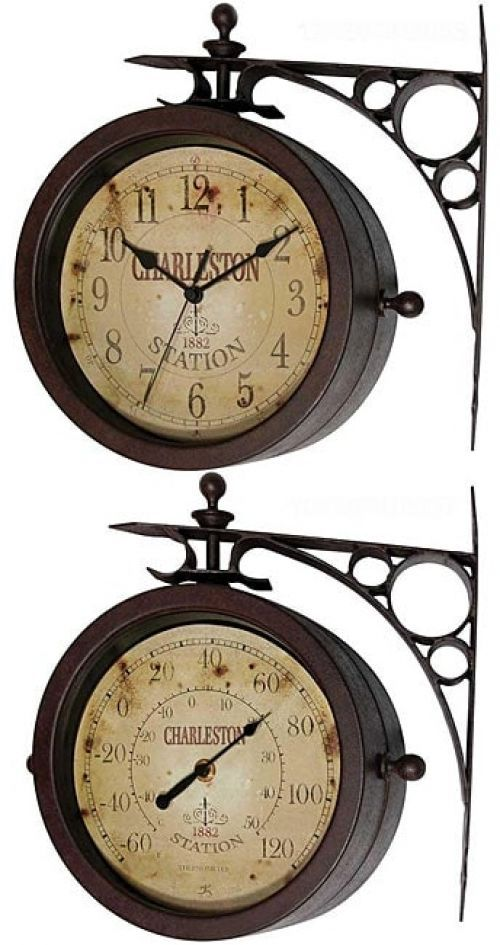 Two-sided Rustic Charleston Clock/ Thermometer #Twosided #Clock #VintageClock #HomeDecor