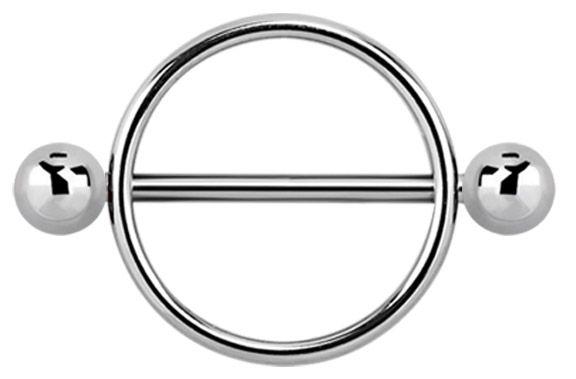 Bild von Brustpiercing Schmuck Schild, 316l Stahl Ring mit Stab und Kugeln #brustschild #brustpiercing #nippelpiercing #piercing