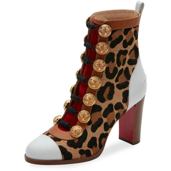 Christian Louboutin Who Dances Button 85mm Red Sole Bootie (196570 RSD) ❤ liked on Polyvore featuring shoes, boots, ankle booties, version gold, strappy booties, bootie boots, christian louboutin booties, block heel ankle boots and short boots