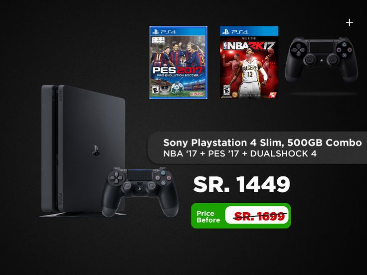 Buy playstation 4 With PES 17 and NBA 17 in Saudi Arabia !! Sports player heaven!!, we sell only genuine items at huge discounts. Shipping all over Saudi Arabia. Markatoutlet.com always have the best offer from any other online stores in the region. Shop Now. Playstation 4 Slim, Playstation Pro, Playstation Ultimate player edition, Playstation Vita, Playstation Controlller, Playstation accessories, Playstation Game discs buy now in Saudi arabia.