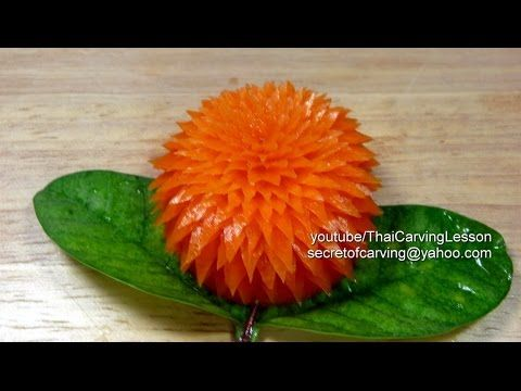 Pointed Petals Flower,Carrot Carving,Lessons6 for Advance,แกะสลักดอกไม้กลีบแหลมจาก แครอท - YouTube
