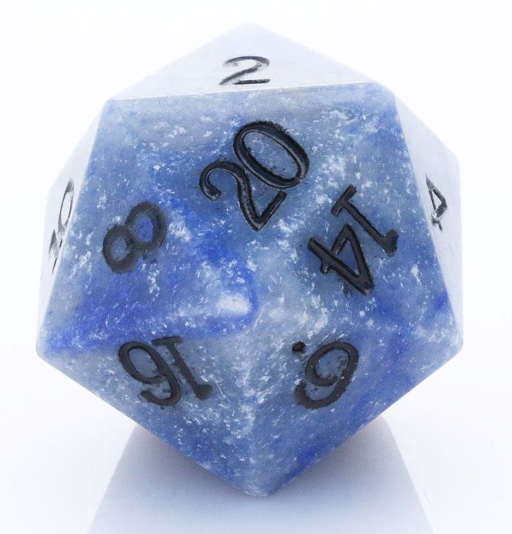 Giant d20 (Blue Jasper) | 25mm RPG Role Playing Game Die