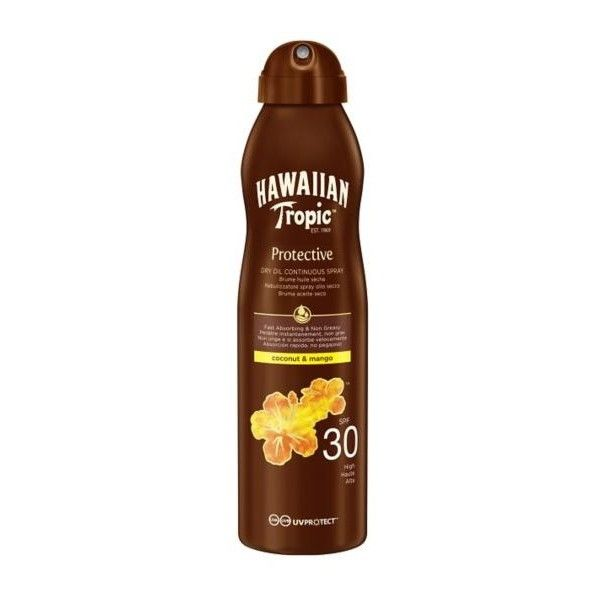 Hawaiian Tropic Tanning Oil Spray With Spf 30 - 180 Ml - Brume Huile... ($18) ❤ liked on Polyvore featuring beauty products, bath & body products, sun care, filler, grey, bath & body and coola suncare