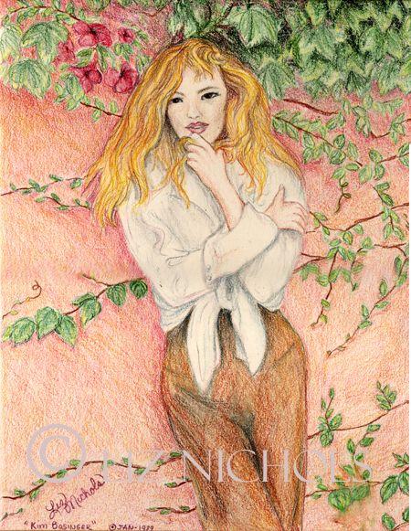 Kim Bassinger Portrait colored pencil drawing by Liz Nichols