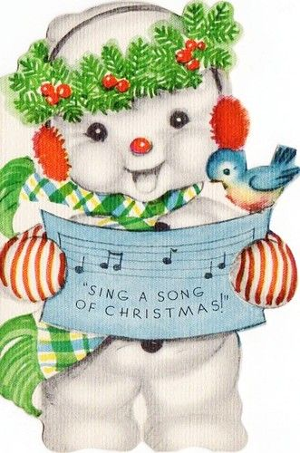 Vintage darling Snowman Christmas Card. This is the cutest snowman I've ever seen