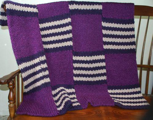 Loom knitted Bold Stripe Afghan
