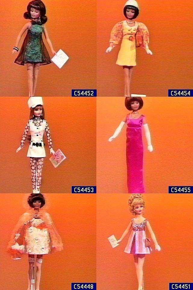"Video stills of an assortment of 16"" vinyl Daisy and Willow dressed box dolls, including Milkmaid Wedding Daisy and many of the store exclusive doll and fashion combinations made for and sold by home shopping network QVC, from the Somers & Field range of dolls, designed by Doug James and Laura Meisner, United States, 1999-2000, by Knickerbocker. From top left: Jazz Club Daisy, Piccadilly Daisy, New Years Eve Daisy, Spring Collection Willow, and Lady Bug Concert Willow."