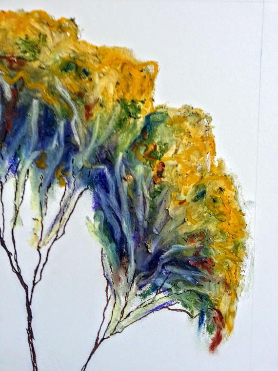 Eucalyptus Oil Pastel And Ink Arches Watercolor Paper Painted