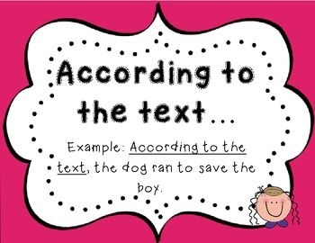 Evidence Based Terms! Great for close reads, guided reading groups, literature circles etc. Great for getting students back into the text to justify their answers!  #commoncore #closeread