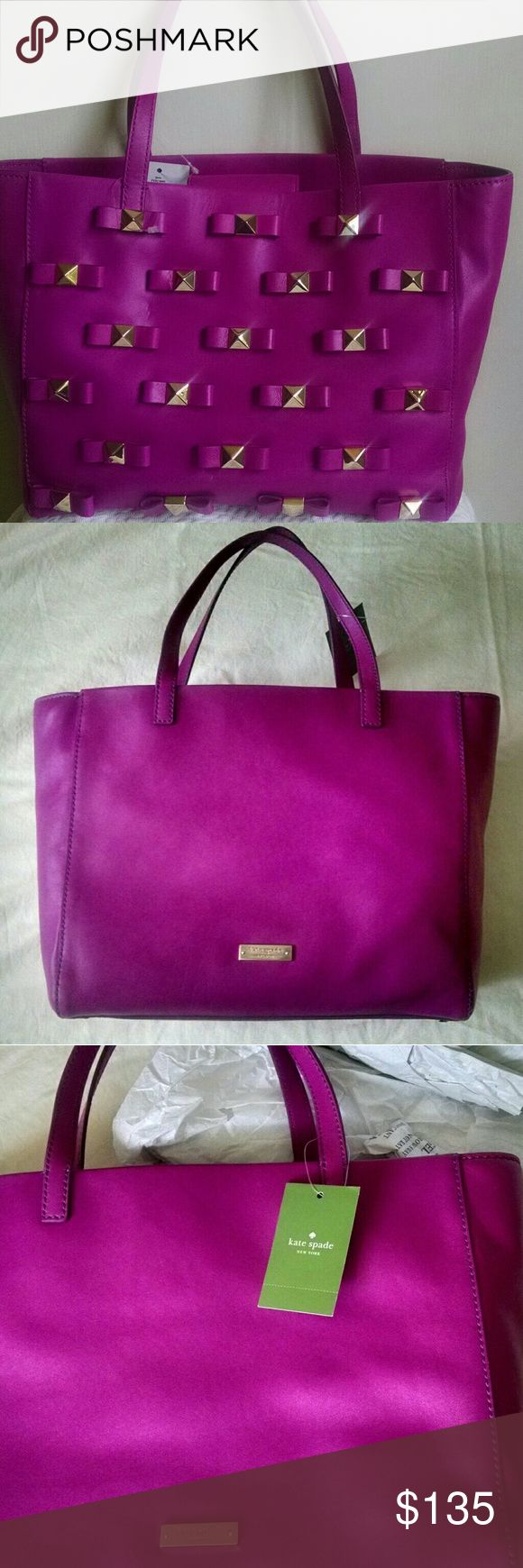 """NWT Kate Spate Janis tote bow... Its a steal!! NWT BUT Has small 1/2"""" indentation on front, see pics. Otherwise IMMACULATE!! Price reflects this FLAW. Tag still attached. Retailed for 458.00 kate spade Bags Totes"""